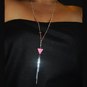 Collana Catenina Pink Triangle Madreperla Swarovski