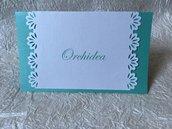 Coordinato guestbook, segnatavolo e talloncini in carta perlata
