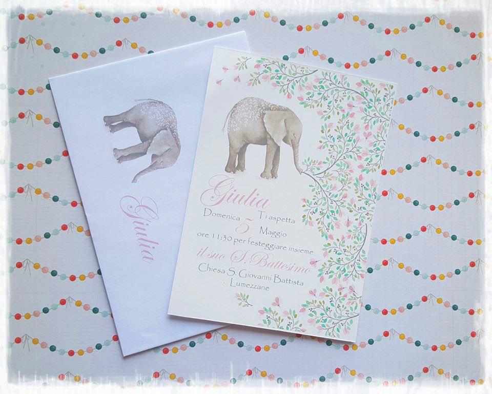 """Invito Battesimo, Cresima, Comunione """"Elephant"""""""