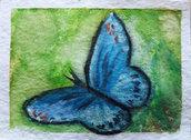 Aceo farfalla blu acquerello dipinto a mano