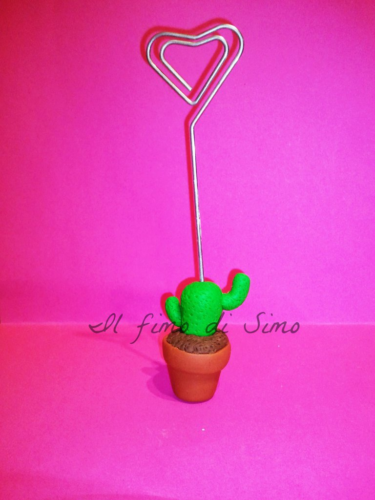 bomboniera segnaposto portafoto vaso con cactus in pasta polimerica
