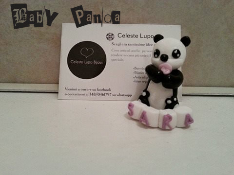 baby panda bomboniera in fimo