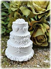 Gessetto torta nuziale - bomboniera o segnaposto per matrimonio - wedding cake