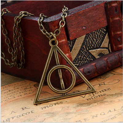 COLLANA CIONDOLO TRIANGOLO DEATHLY HALLOWS HARRY POTTER E I DONI DELLA MORTE BRONZO