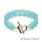 Bracciale a fascia cristalli azzurro acquamarina chiusura cuore oro fatto a mano - Giacinto