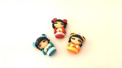 MONDO KOKESHI - fimo LOTTO OFFERTA STOCK - 3 ciondoli per orecchini collane compleanno