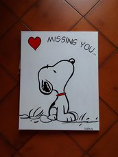 Quadro dipinto a mano Snoopy