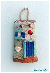 Tegola portafortuna decorata a mano effetto lucido