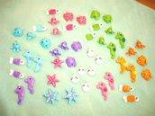 FIMO - kawaii -  OFFERTA LOTTO STOCK - 12 ciondoli charms - IL POPOLO DEL MARE idea estatate