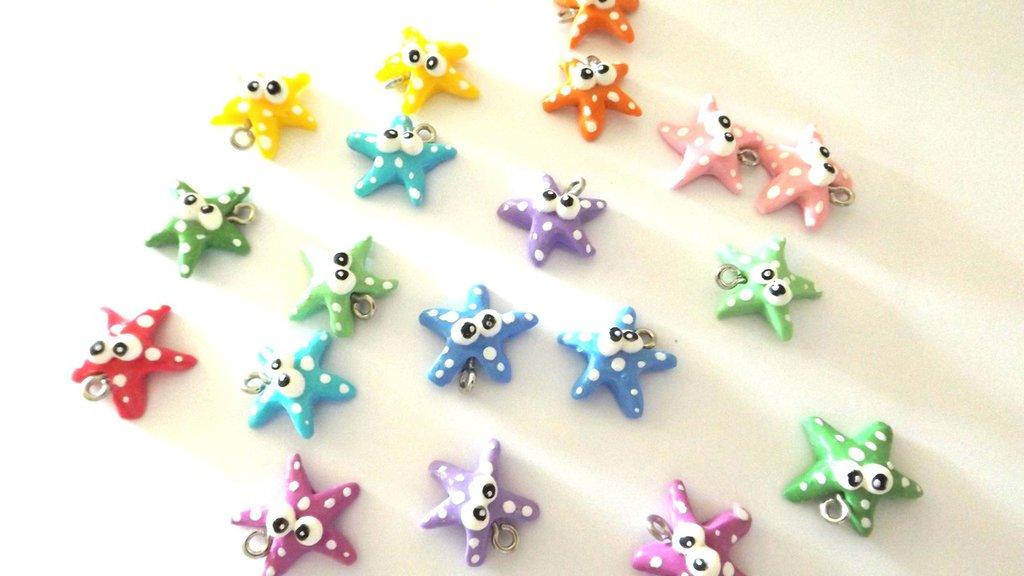 FIMO - kawaii -  LOTTO STOCK OFFERTA 4 CIONDOLI a scelta   - il popolo del mare - stelle marine -colori pastello