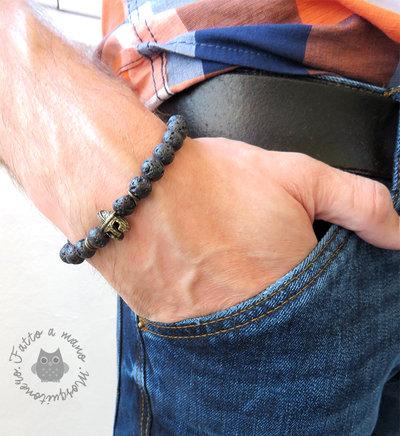 Bracciale da UOMO nero con ELMO da gladiatore romano perle pietra lava rock elastico cool