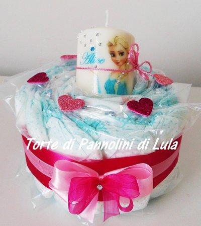 Torta di Pannolini Pampers + Candela - idea regalo, originale ed utile, per nascite, battesimi