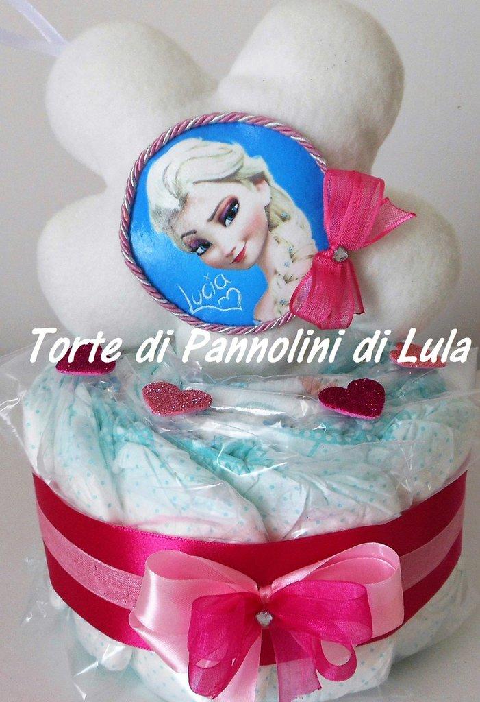 Torta di Pannolini Pampers + Cuscino - idea regalo, originale ed utile, per nascite, battesimi
