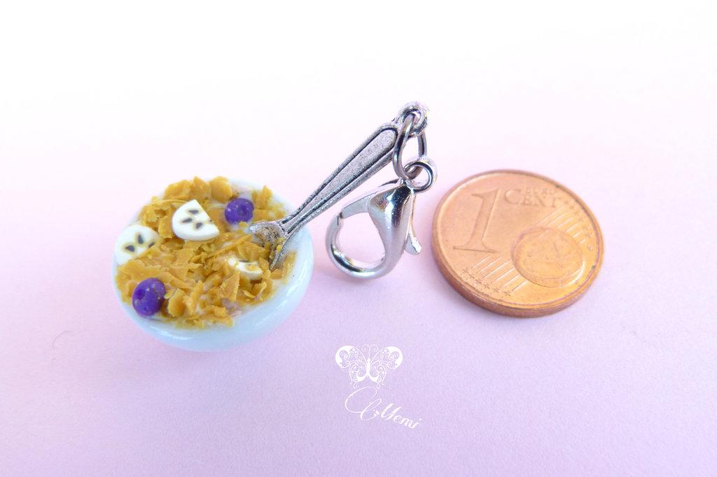 Charm Corn Flakes Con frutta * Handmade Dollhouse Miniature *
