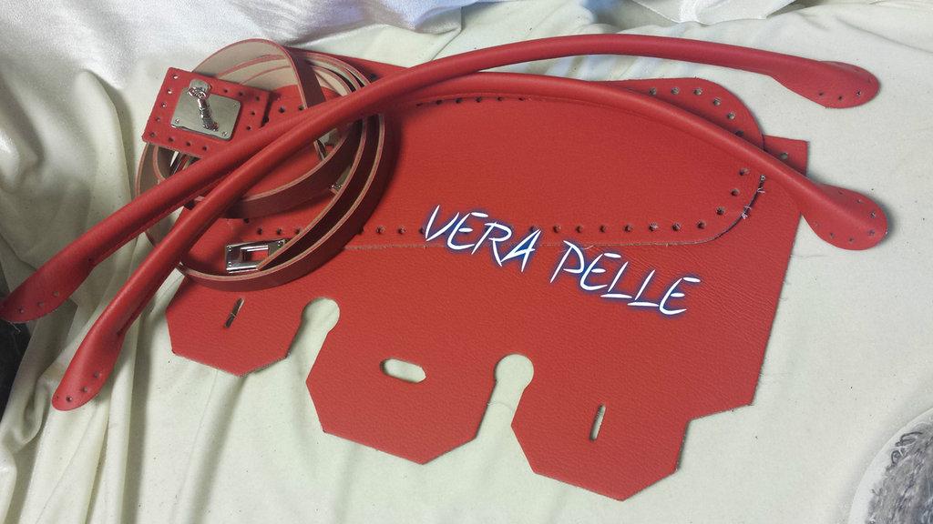"""Kit Patella birkin """"VERA PELLE"""" rossa"""