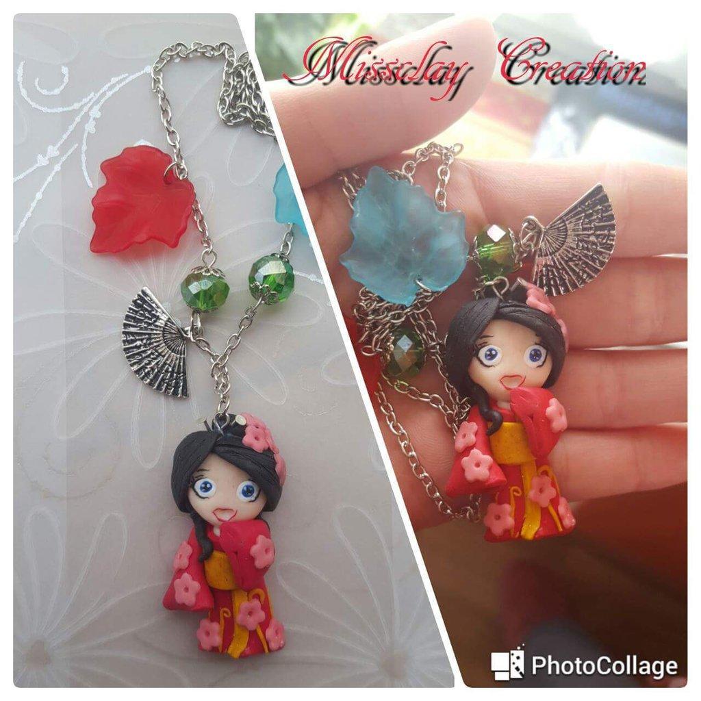 Collana con geisha fimo