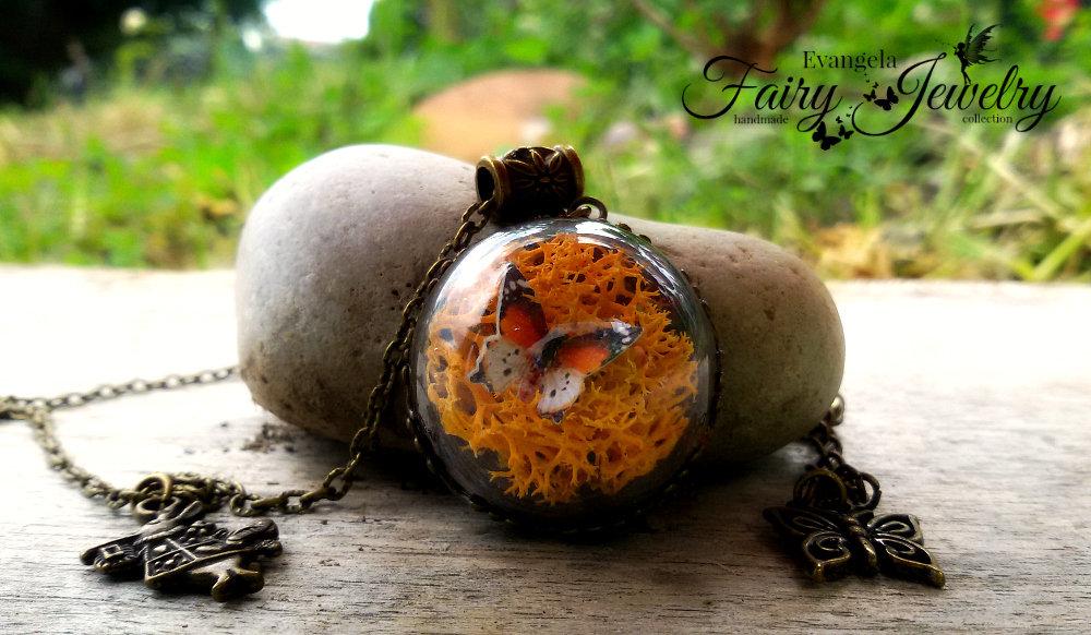 Collana farfalla licheni minimondo arancio bronzo