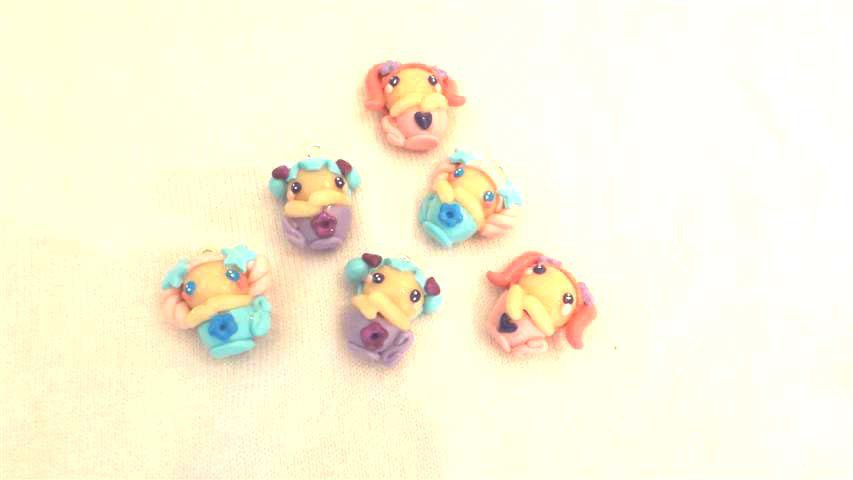 FIMO - kawaii - doll - FATINE in TAZZA  - un ciondolo a scelta per orecchini collane - bomboniere - compleanno