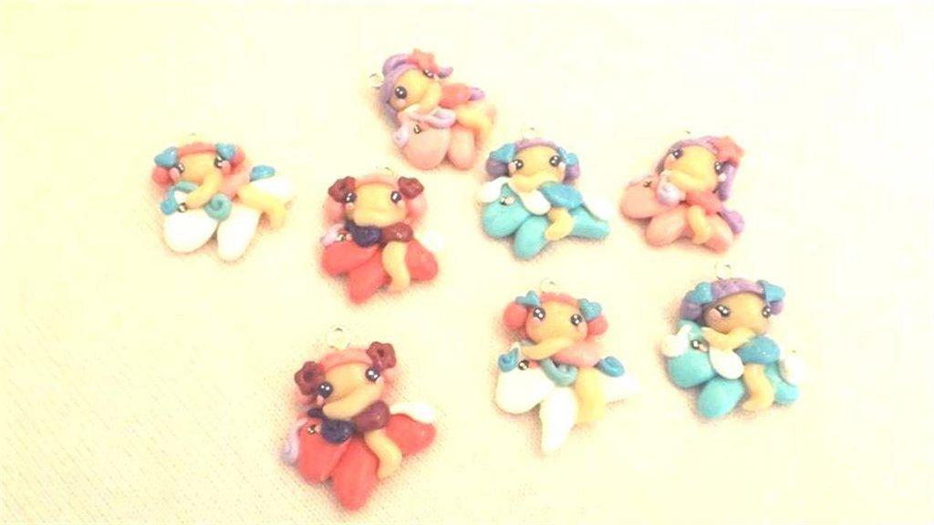 FIMO - kawaii - doll - FATINE e MINI PONY   - un ciondolo a scelta per orecchini collane - bomboniere - compleanno
