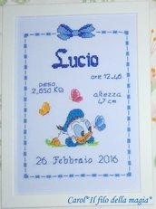 Quadretto nascita - fiocco nascita - BABY PAPERINO PRATO -punto croce- B74