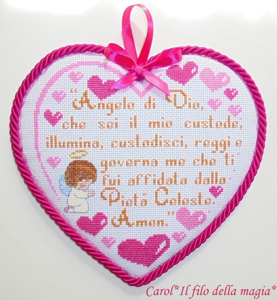 Cuscinetto Capoculla cuore piccolo PREGHIERA ANGELO DI DIO BIMBA - punto croce -