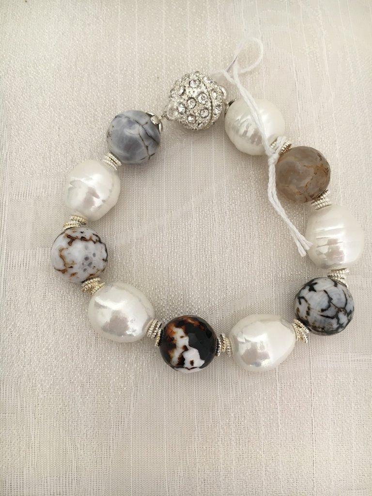 Bracciale perle e agata bicolore