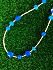 collana lunga agata blu e argento