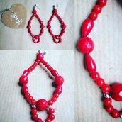 Orecchini in pietra dura Corallo  Bambù rosso