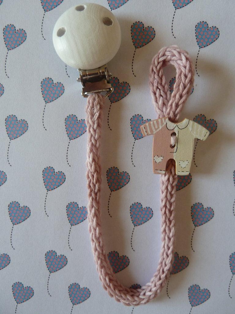 Porta-ciuccio nelle sfumature del rosa in cotone bio lavorato a tricotin