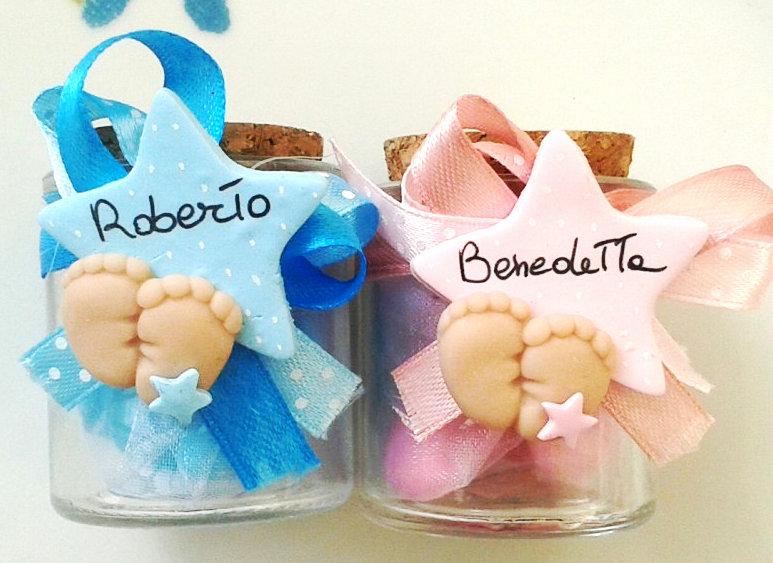1 bomboniera con ciondolo o magnete fimo neonato personalizzabile nome scarpetta nascita battesimo confetti bomboniera sacchetto scatola pieDini cuore pois ciuccio carrozzina decorazione