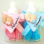 1 bomboniera con ciondolo o magnete fimo neonato personalizzabile nome nascita battesimo confetti bomboniera sacchetto scatola pieDini cuore pois ciuccio BIBERON decorazione