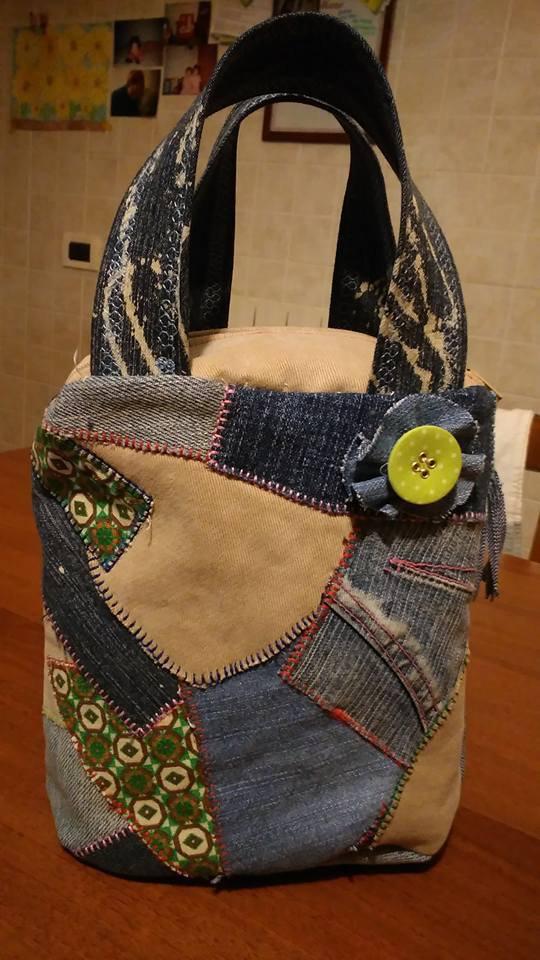 Borsina portatrucco in patchwork