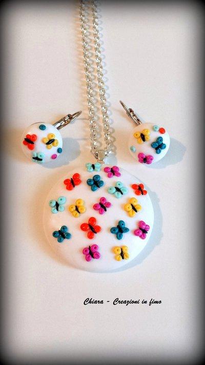Parure in fimo handmade elegante con farfalle colorate in rilievo idea regalo donna