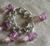 Bracciale catena argento satinato e pendenti viola glicine