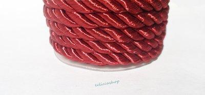 Cordoncino ritorto colore Rosso vinaccio da 4-5 mm 1.5 M