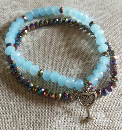 Bracciale cristalli azzurri e blu cangiante con ciondolo aperitivo