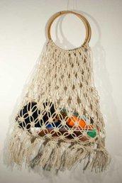 Borsa in macramè, di corda naturale made in Italy