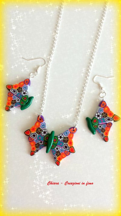 Parure in fimo handmade elegante con farfalle colorate con murrine idea regalo donna
