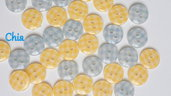 set 12 bottoni 11mm a quadretti giallo e azzurro