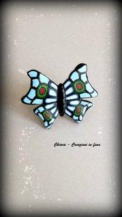 Anello in fimo fatto a mano con farfalla di murrine
