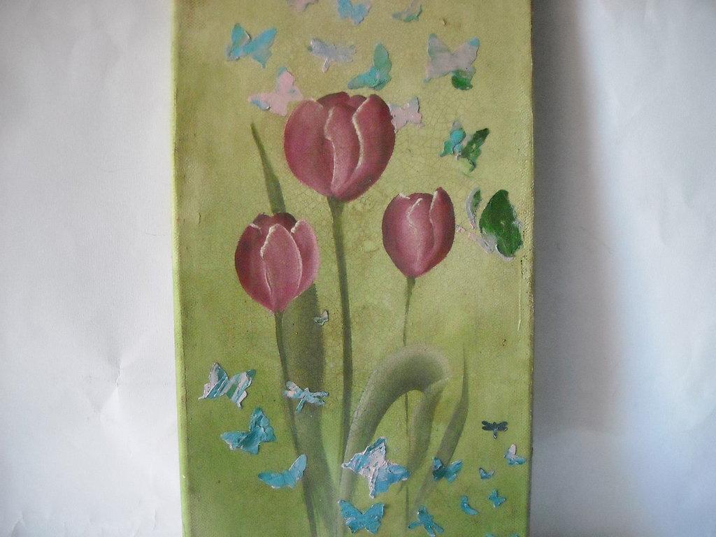 Quadro dipinto a mano con Tulipani Pezzo unico