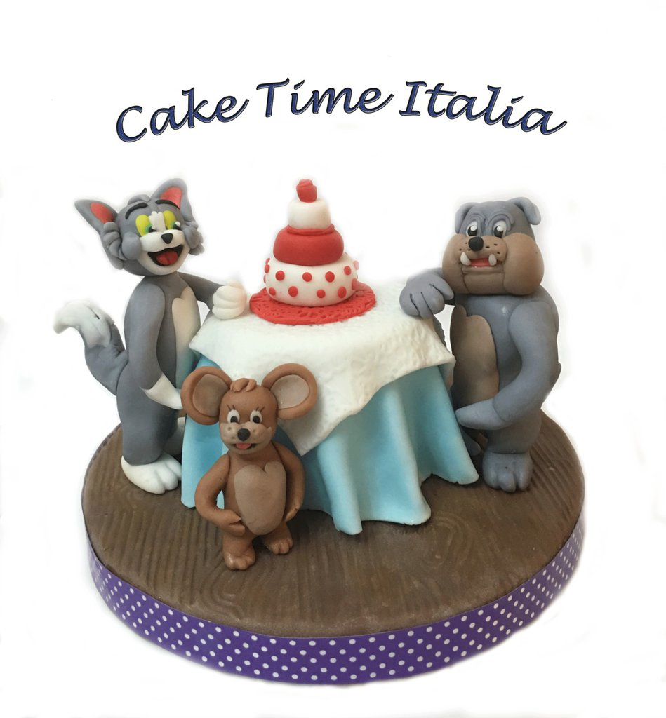 Topper pasta di zucchero Tom and Jerry