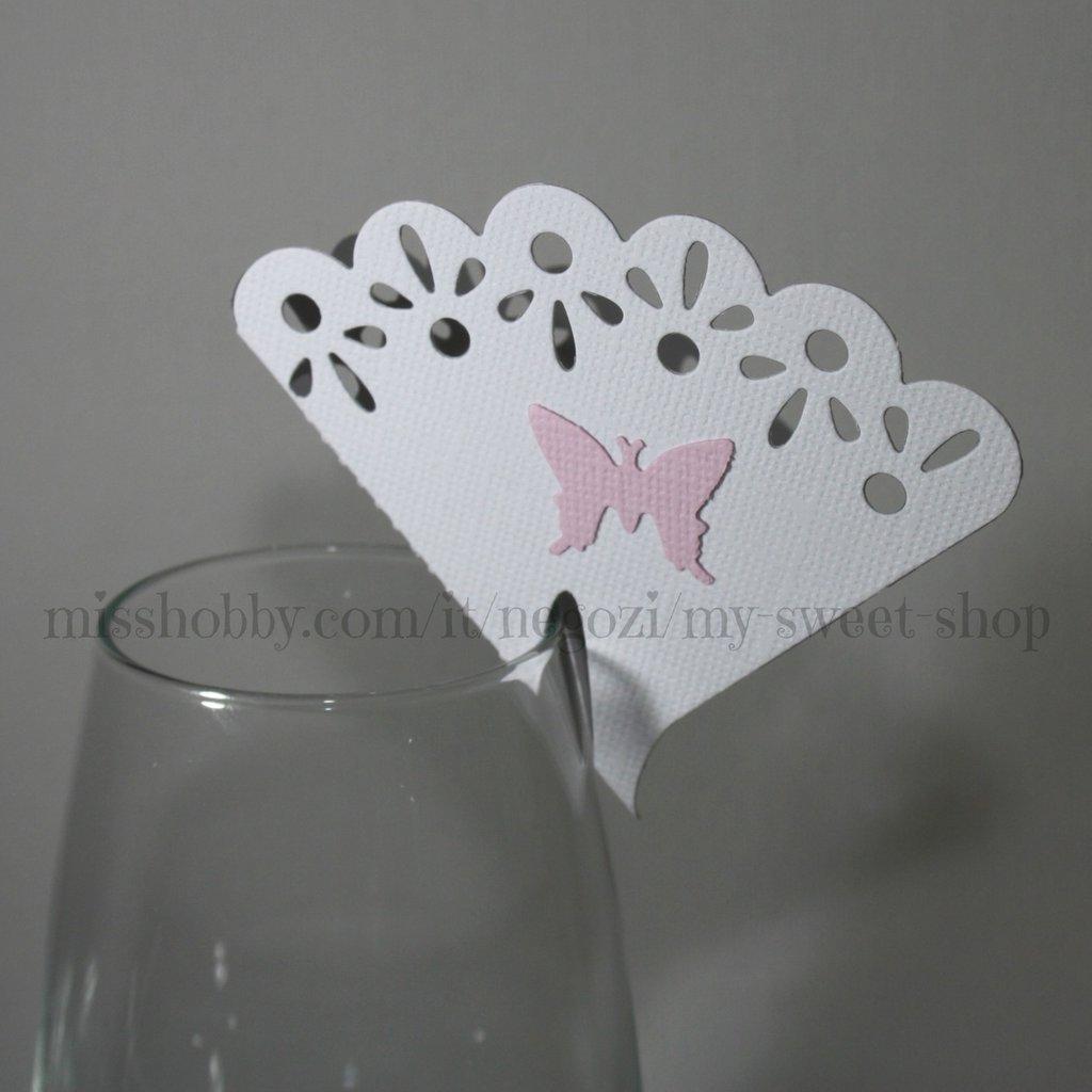 Set di 10 segnaposto con farfalla per cerimonie