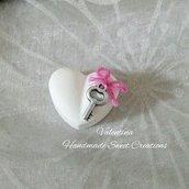 Gessetti cuore con chiave e fiocco- segnaposto matrimonio