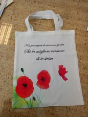 Borsa shopper con papaveri
