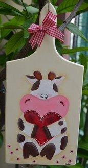 Tagliere legno con mucca in pittura country