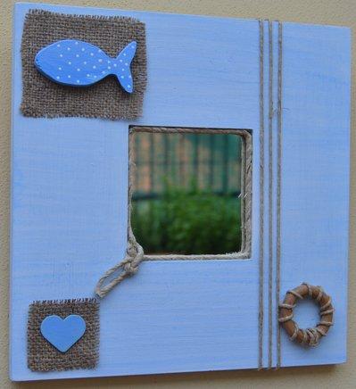 Specchio decorato a mano stile marinaro