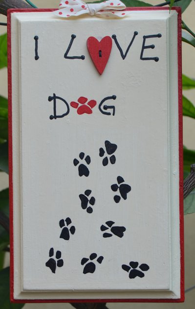 "Quadro"" I love dog "" dipinto a mano"