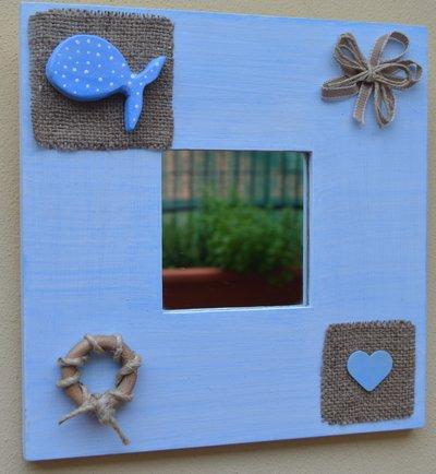 Specchio decorato a mano stile marino per la casa e per te dec su misshobby - La mano sullo specchio ...