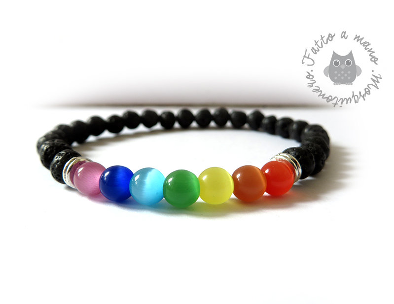 Bracciale da UOMO Chakra energia del corpo elastico perle in vetro e lava
